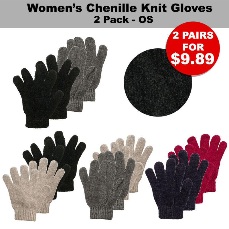 Imported From Abroad Silver Age Women's Chenille Knit 2 Pack Gloves No Size