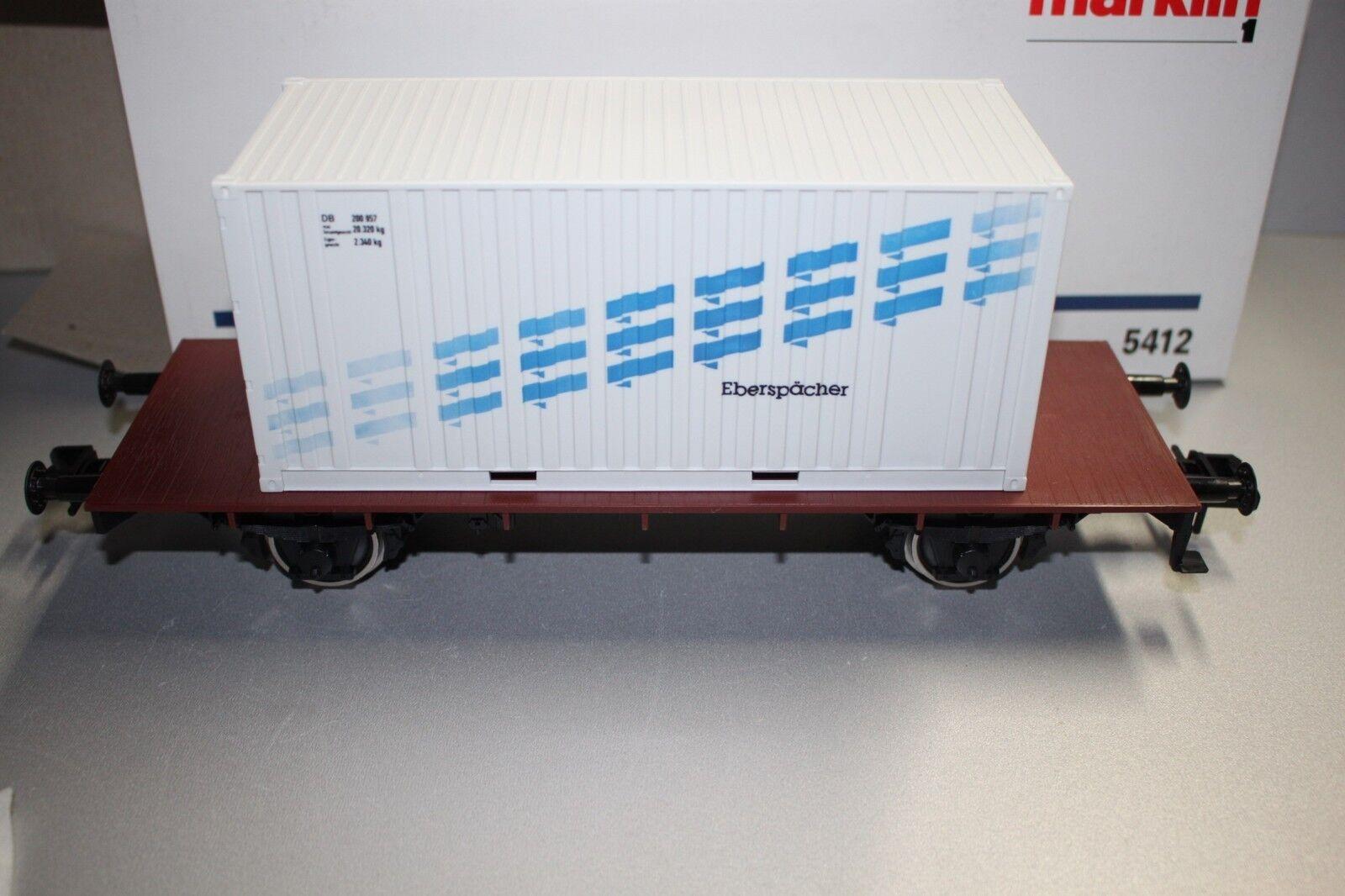 marklin 5412 2Achser Vagone per Container Eberspächer DB Scala 1 Conf. Orig.