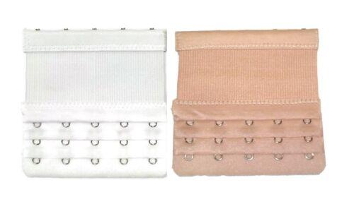 Bra Extender 5 Hooks with Elastic Bra Saver White Beige Dark