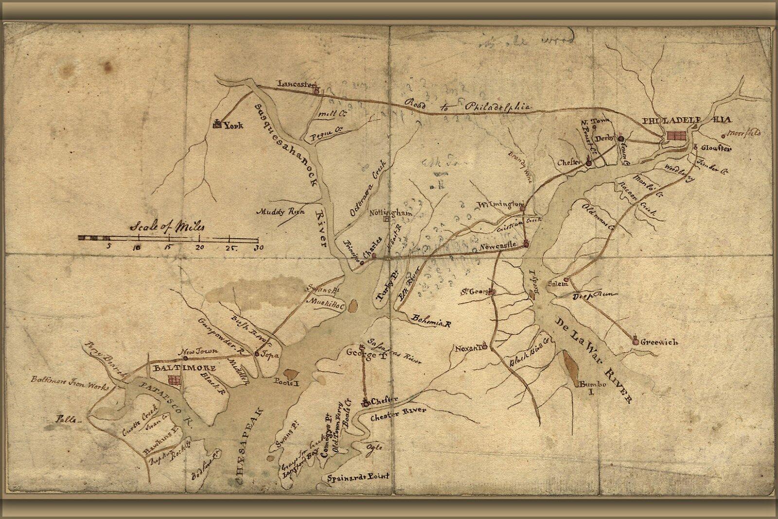 Plakat, Viele Größen; Karte von Delaware Fluss & Chesapeake Bay Bereich 1776