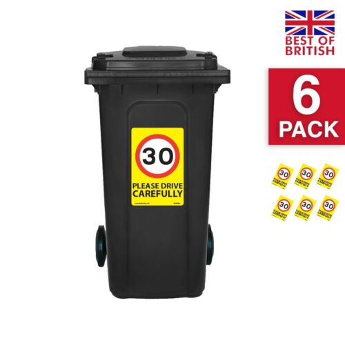 Yellow Background Ideal Fo... - A4 Vinyl Stickers 6 X Pack 30 Mph Speed Signs