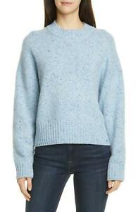 VInce Womens New Boxy Mock Neck Blue Merino Wool Knit Sweater Pullover Top L