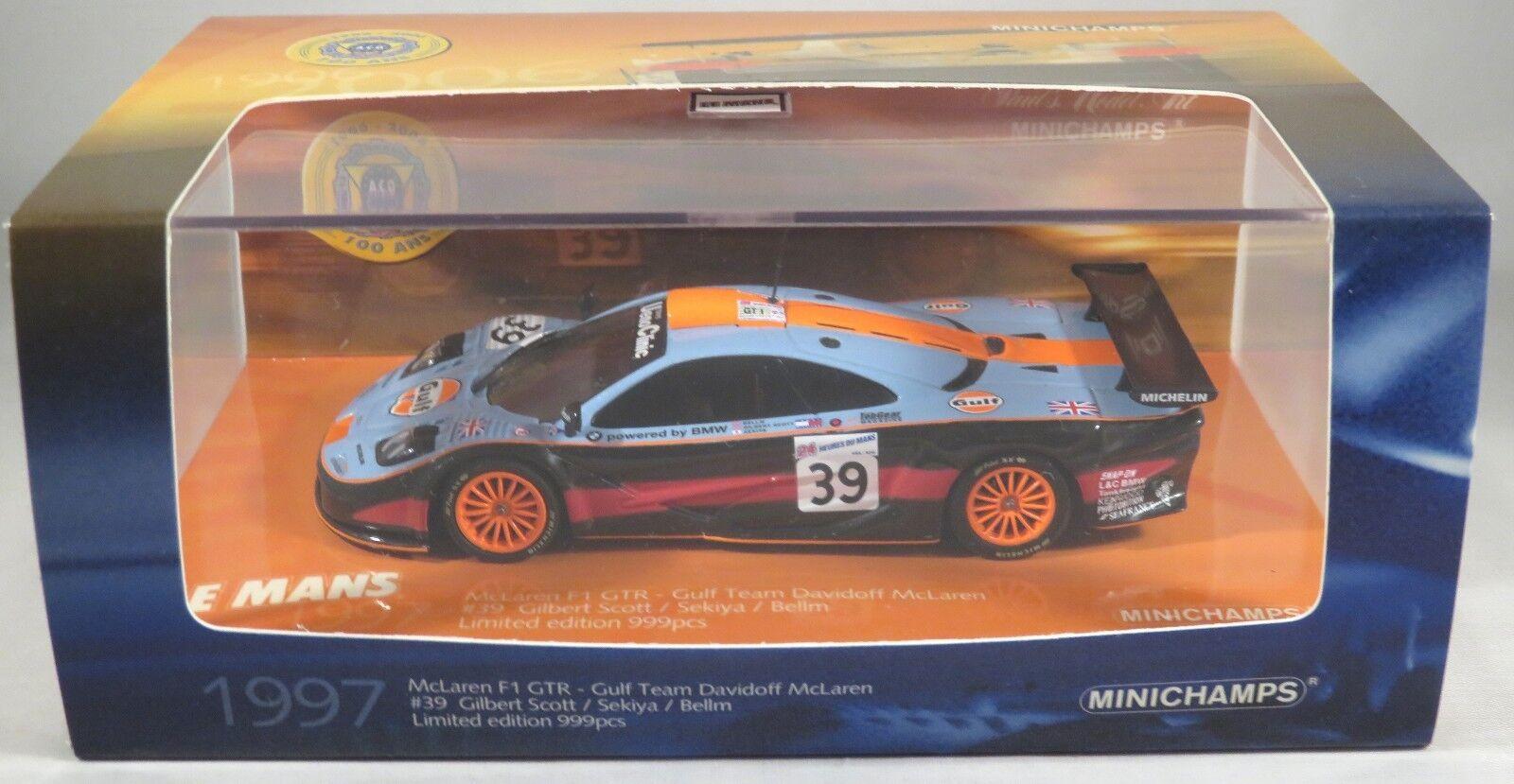 MCLAREN F1 GTR  39 Bellm Sekiya DAVIDOFF GULF ACO LE MANS 1997 MINICHAMPS 1 43