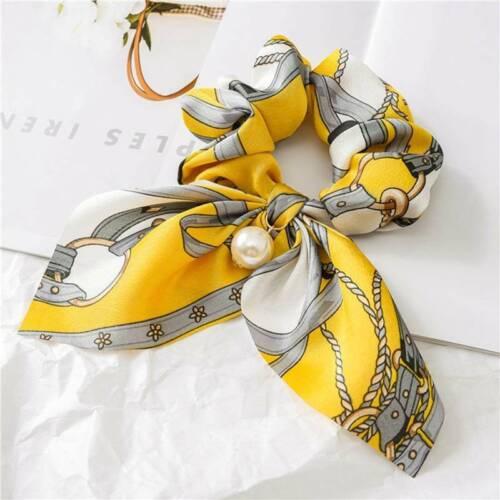 Mode Blumen Bogen Scrunchie Haarband elastische Haargummis Seil Schal Zubehör.