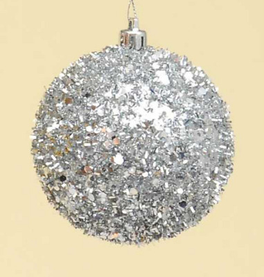 Pack X 6 Silver Mirror Balls Baubles Christmas Tree Decorations 80mm Size