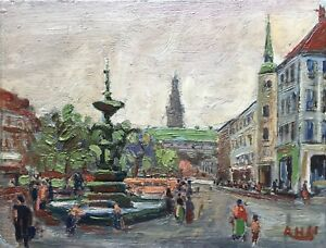 City-View-With-Fountain-Axel-H-1961-Painting-Study-16-8-x-22-5-cm