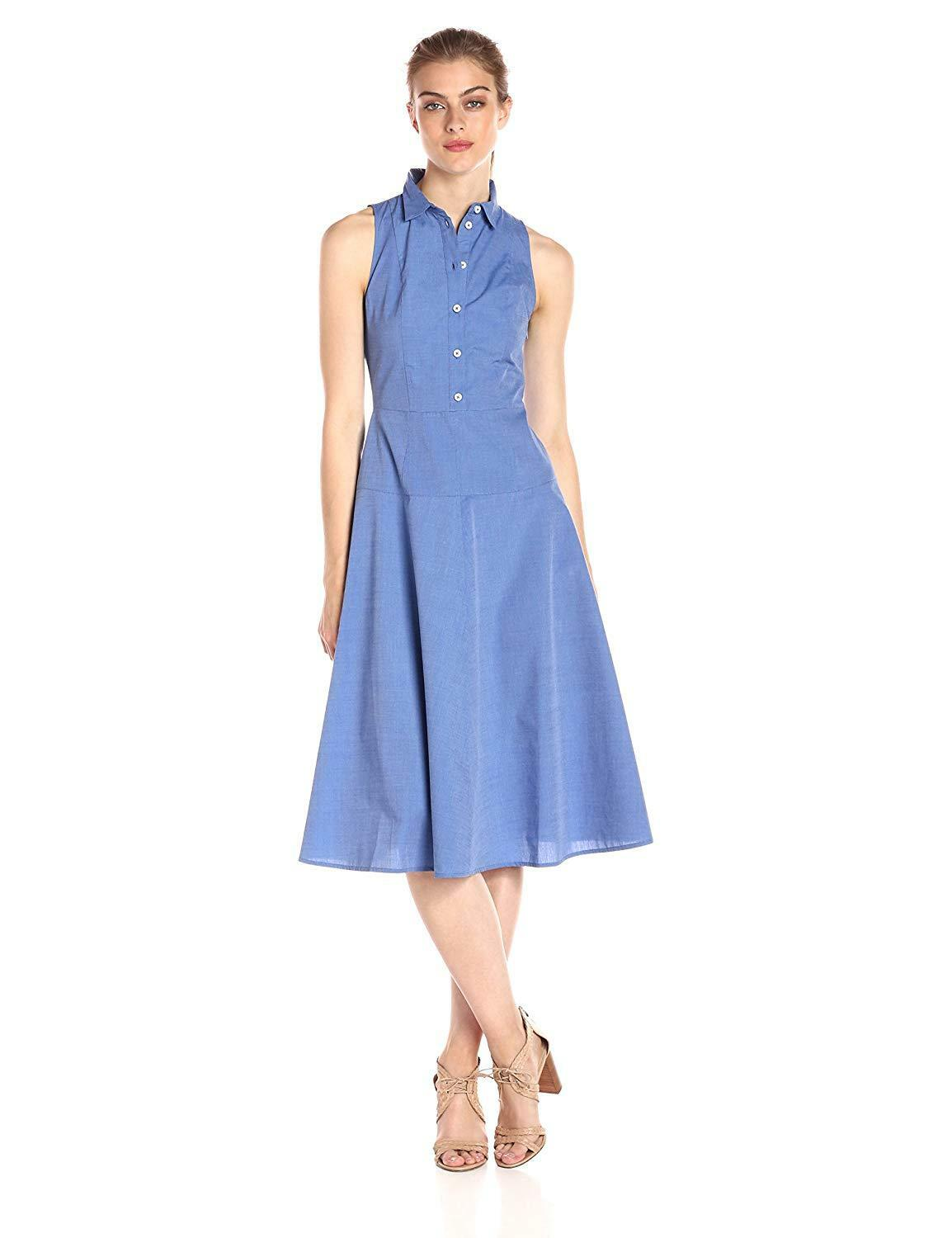 Armani Exchange damen Collarot Button up Sleveless Midi Dress,Blau,0, 2579-3