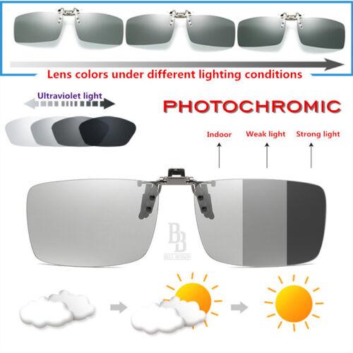 Photochromic Polarised Clip On Flip Sunglasses UV400 Polarized Fishing Eyewear