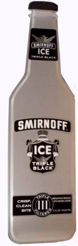 Smirnoff Ice Triple Black Bottle Shaped Metal Tin Bar Pub Sign
