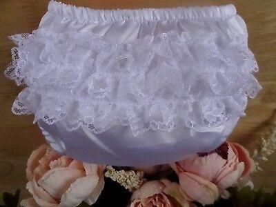 Baby Girl White Satin Lace Frilly PantsKnickers,ChristeningOccasion 0 6 12 mth | eBay