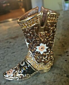 Western Hand Made Boot Trinket Box With Swarovski Crystals By Ciel Collectables Ebay