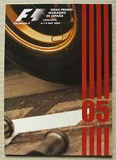Español Grand Prix Formula One F1 2005 Catalunya Programa Oficial