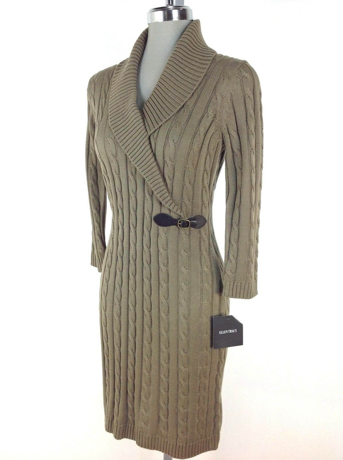 Ellen Tracy NEW Cable Sweater Dress TAUPE 3 4 Long Sleeve Shawl Collar size S