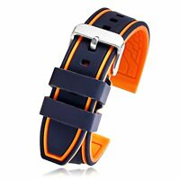Silicone Rubber Watch Strap Sport Diver Band Black Orange 22Mm GIFT NEW