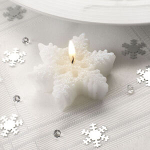 3-Small-Christmas-Shimmering-SNOWFLAKE-Shaped-CANDLES-Table-Decoration-Xmas