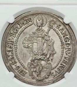 Austrian-States-Bishophric-of-Salzburg-Paris-von-Lodron-Silver-Taler-NGC-AU58