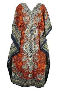 Women-Kaftan-Light-Viscose-Kimono-Orange-Kaftan-Night-Wear-Dress-Free-Shipping