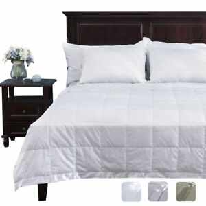 73e0e32ea9 puredown Light Weight White Down Blanket With Satin Weave Full queen Size  Throws