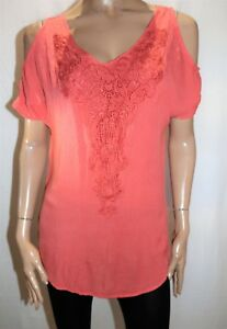 CROSSROADS-Brand-Rusty-Coral-Cold-Shoulder-Crochet-Front-Top-Size-8-BNWT-SA52
