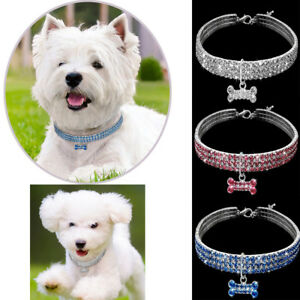 3Rows-Rhinestone-Diamante-Bling-Dog-Necklace-Bone-Pendant-Collar-Cat-Girl-Pet