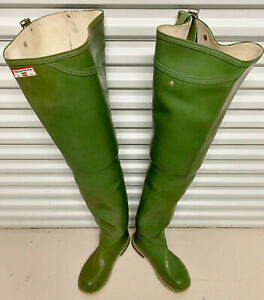 Vintage-UK-Hunter-Keenfisher-Rubber-Hip-Waders-Boots-Metal-Stud-US-8-UK-7-EU-41