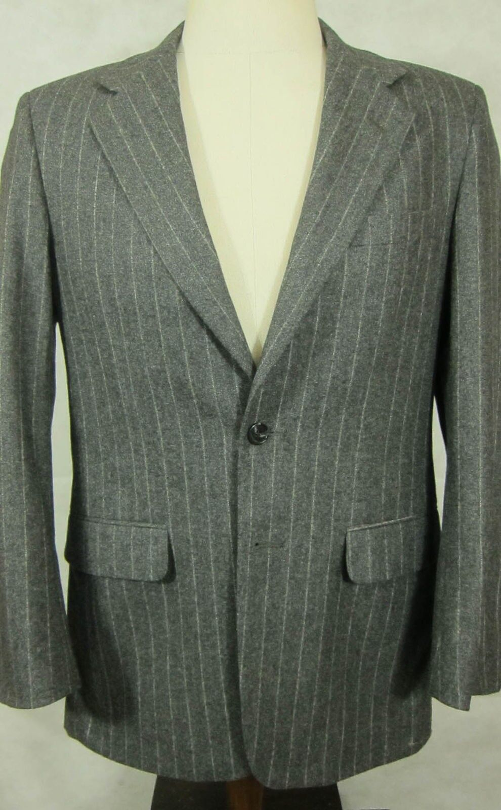 VINTAGE Corbin Light grau With Weiß Chalk Stripe Soft Flannel Wool Suit 40R 32W