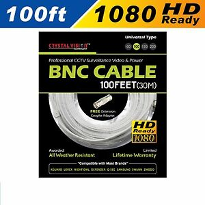 HD WHITE 100ft Power & Video Cable for Security CCTV use / LOREX / Swann / Qsee
