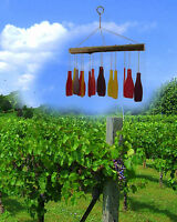 Handcrafted Wine Bottle Glass And Driftwood Wind Chime