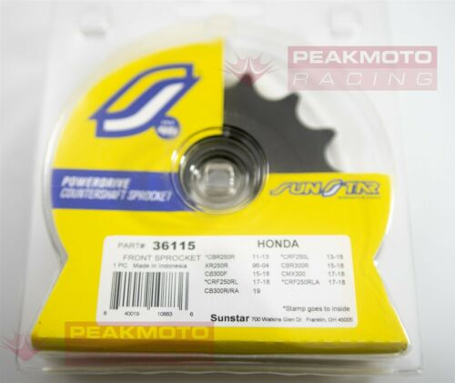 SUNSTAR 36115 15T Steel Countershaft Front Sprocket For Honda CBR250R//CBR300R