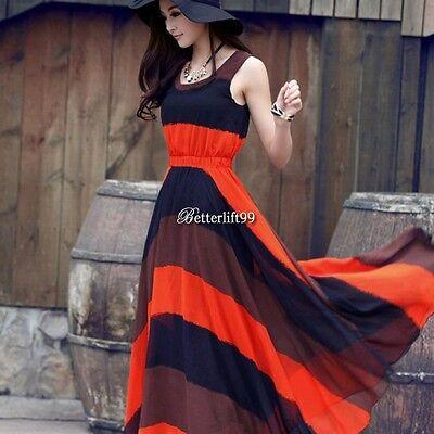 Women Summer Long Maxi BOHO Evening Party Dress Beach Dresses Sundress NEW BF9