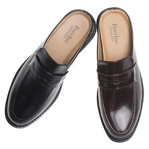AGOS Mens Penny Strap Mules Open Back Loafer Slip-On Dress Slippers | eBay