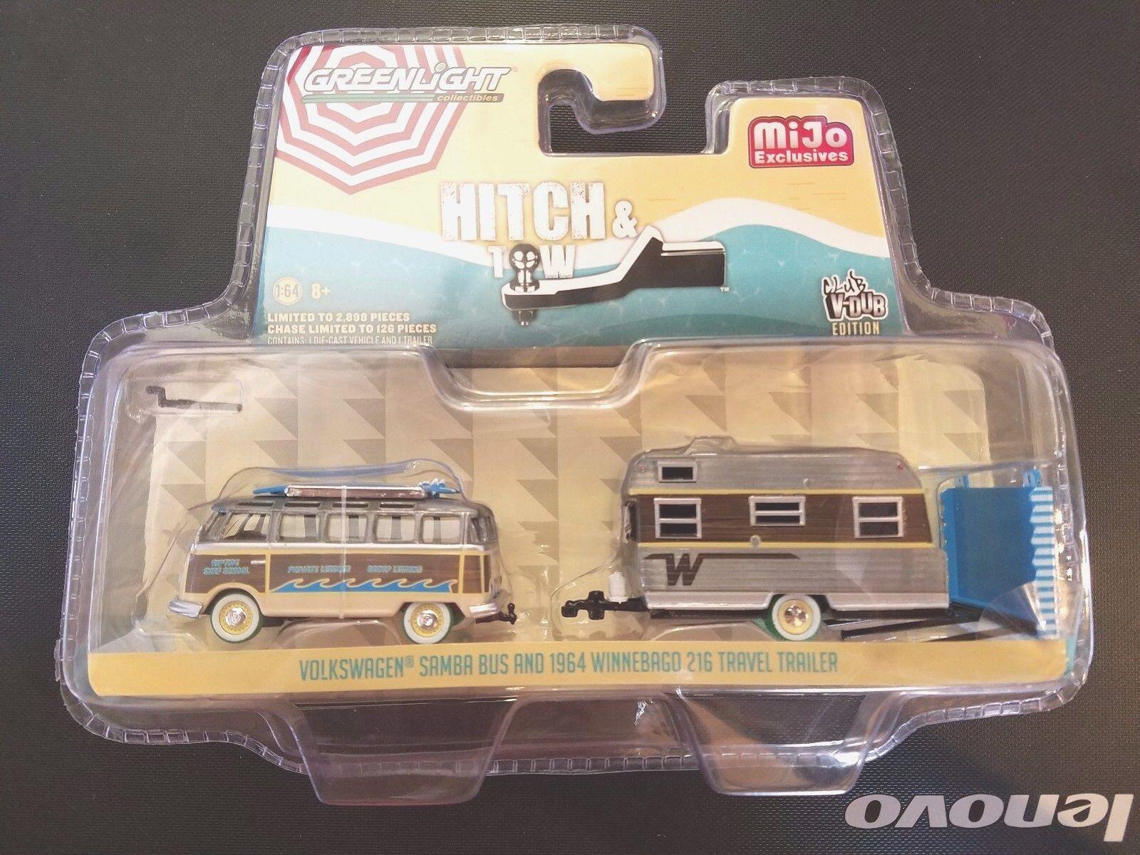 verdeLIGHT VOLKSWAGEN SAMBA BUS & 1964 WINNEBAGO 216 TRAVEL TRAILER 51114 CHASE