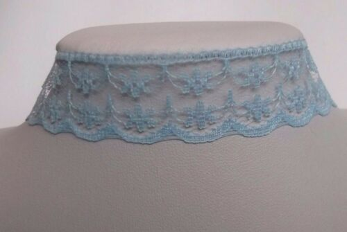 13.5in ext Blue Lace ribbon choker necklace vintage retro bridal prom 80s 90s