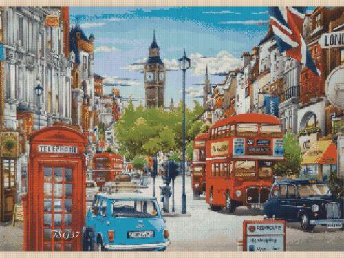 409 TSG37-GRATIS UK P /& P NO Cross stitch chart-Londra Street Scene