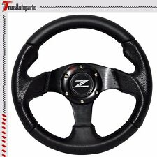 280mm JDM 6-Bolt Steering Wheel Black PVC Leather & Horn Button W/ Z Logo