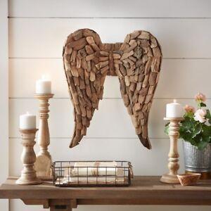 Driftwood Angel Wings Wall Sculpture Handmade Wood Craft Hanging Art