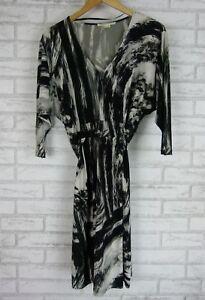 JANE-LAMERTON-PETITE-Dress-Sz-10-12-Black-Gray-White-Print