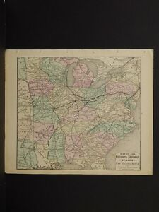 Antique Railroad Map, 1876 Pan Handle Route, Advertistement on Back N6#01