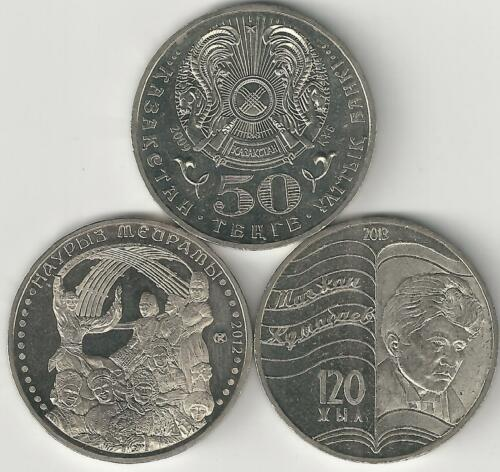 2009 50 TENGE COINS from KAZAKHSTAN 3 TYPES 3 LARGE UNC 2012 /& 2013