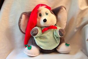 Applause BO Musical Wind-Up Christmas Mouse Plush Toy Doll 1988
