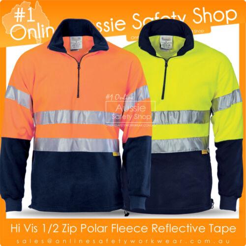 3 X HI VIS YELLOW ORANGE HALF ZIP POLAR FLEECE REFLECTIVE D//N WARM JUMPER JACKET