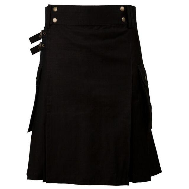 Great Gift : Military Black Scottish Casual Kilt Size 30