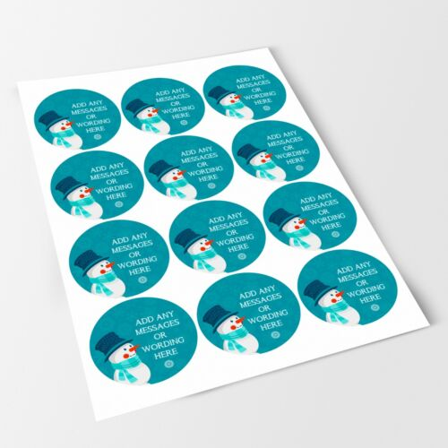 Christmas Happy Snowman Sticker Labels for Party Bag Sweet Cones