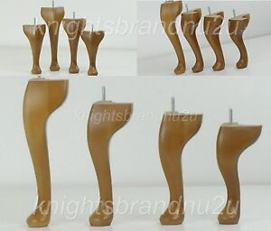 4x Solid Wood Replacement Queen Ann Furniture Legs Feet Chairs
