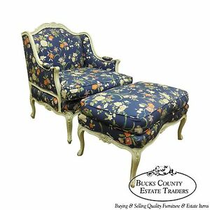 Quality wide seat french louis xv style bergere w ottoman for Chaise style louis xiv