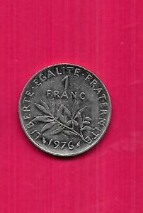 FRANCE-FRNECH-KM925-1-1976-UNC-BU-MINT-LARGE-OLD-PRE-EURO-FRANC-COIN