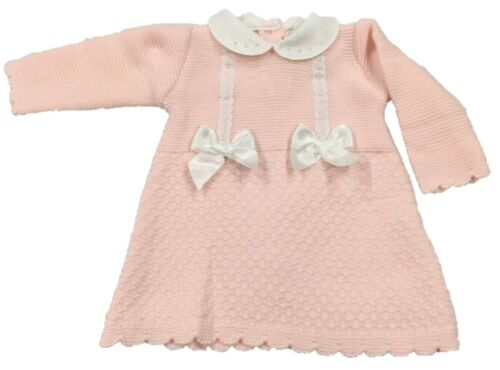 Baby Girls Spanish Romany Style Knitwear Bow Dress PINK WHITE 0-9 Mth ANGEL KIDS