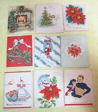 9 Vintage Greeting Card Christmas 1940-50s Poinsettia's People Fireplace ++ B15
