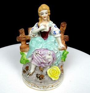 CHASE-PORCELAIN-JAPAN-HAND-PAINTED-VICTORIAN-WOMAN-ON-WOODEN-BENCH-6-034-FIGURINE