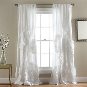 Image Is Loading White Raised Textured Floral Country Romantic Shabby Chic